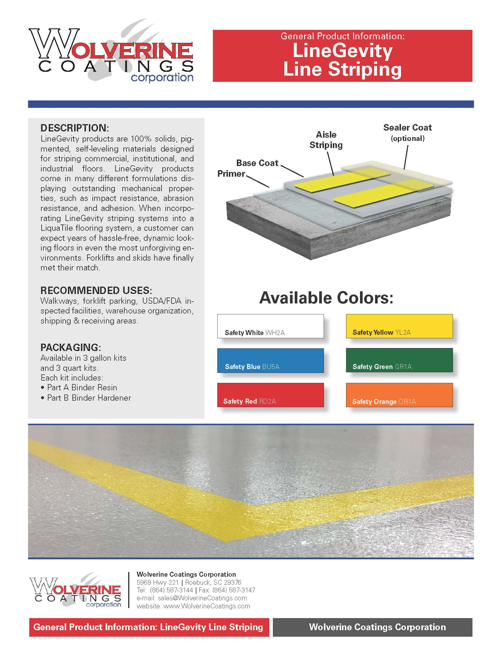 Line Striping - General Product Information - Wolverine Coatings Corporation: Coatings Manufacturer, Spartanburg, SC