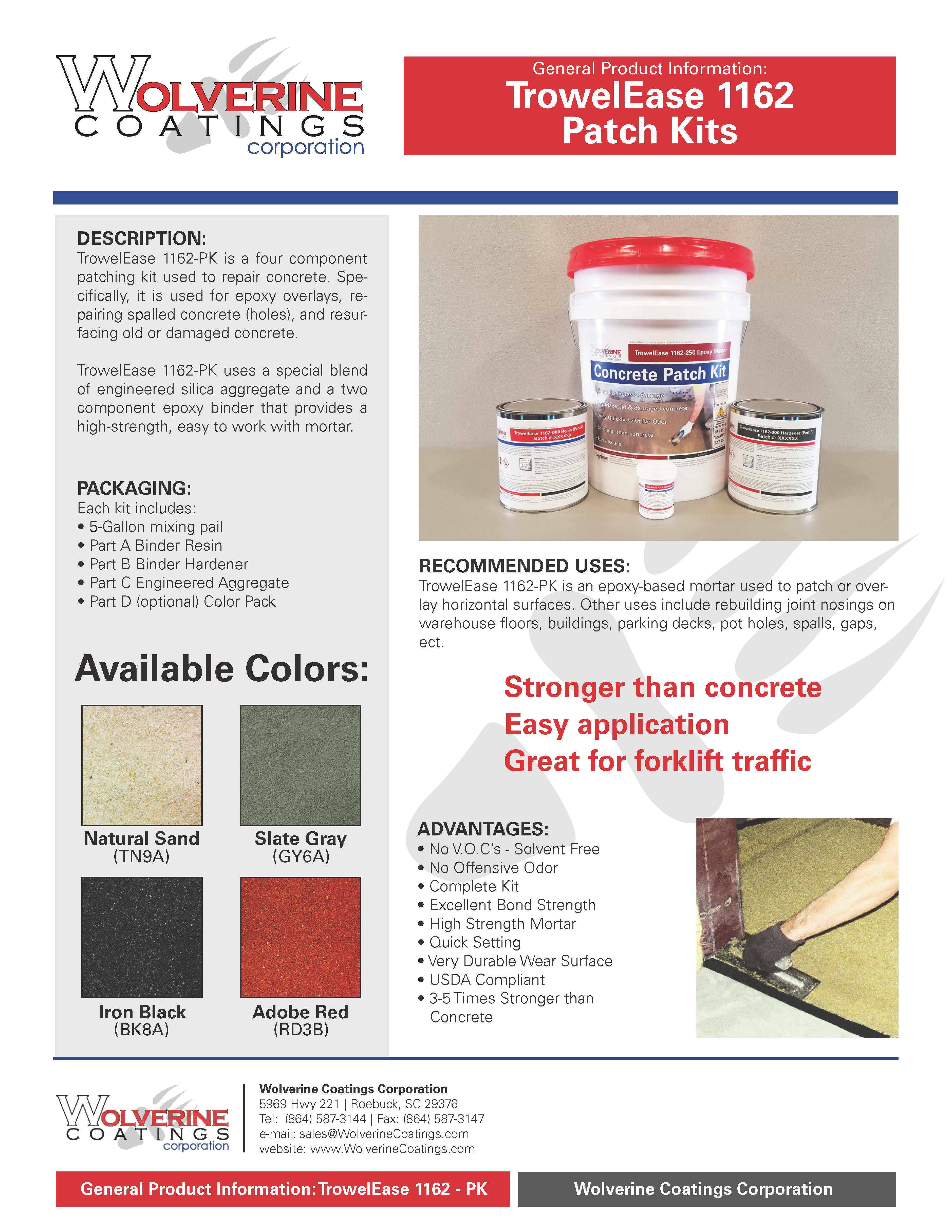 Patch Kits - General Product Information - Wolverine Coatings Corporation: Coatings Manufacturer, Spartanburg, SC