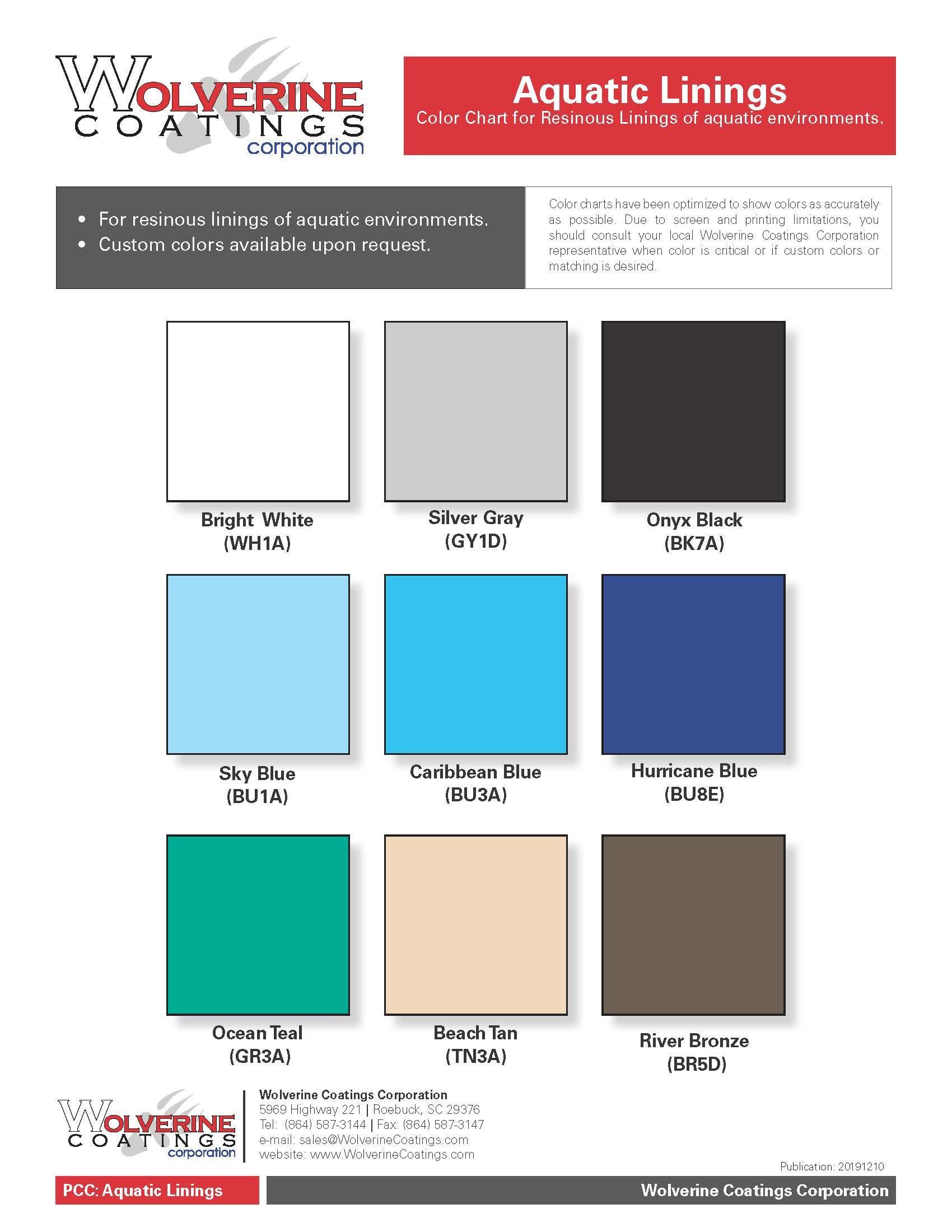 Aquatic Linings Color Chart-PCC