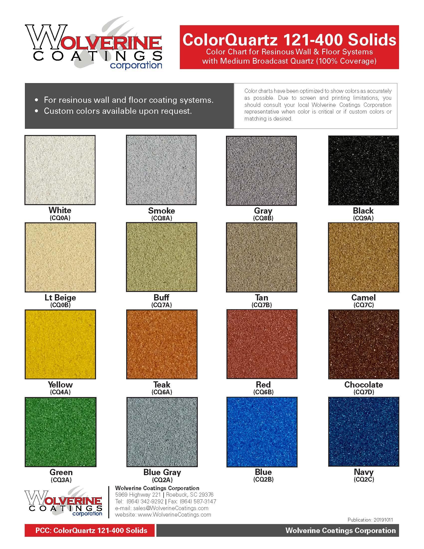 ColorQuartz 121-400 Solids Color Chart- Product Color Charts