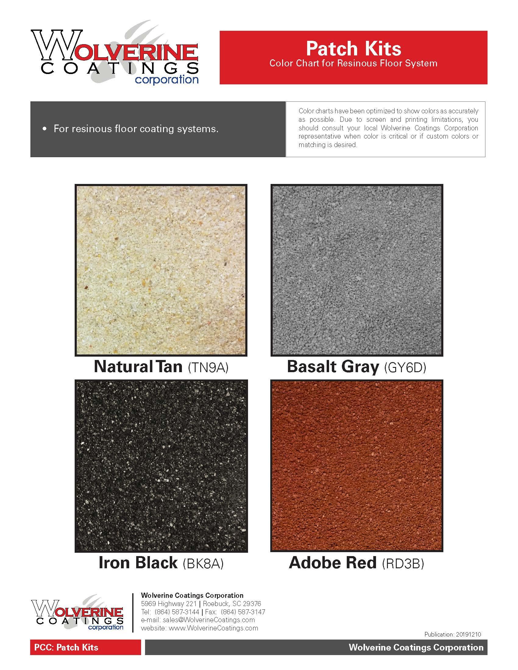 Patch Kits Color Chart-PCC