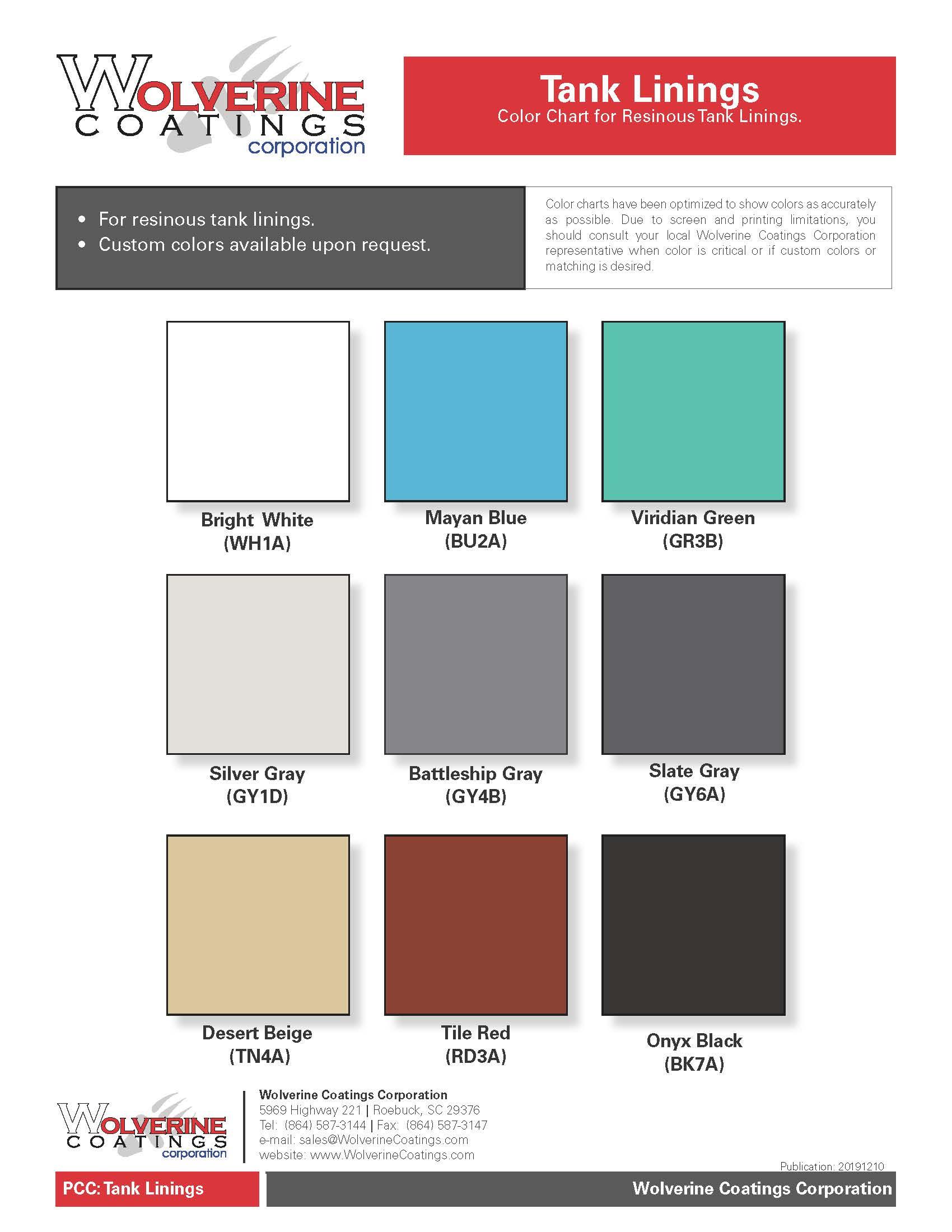 Tank Linings Color Chart-PCC