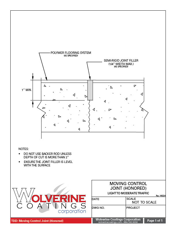 Moving Control Joint - Technical Detail Drawings - Wolverine Coatings Corporation