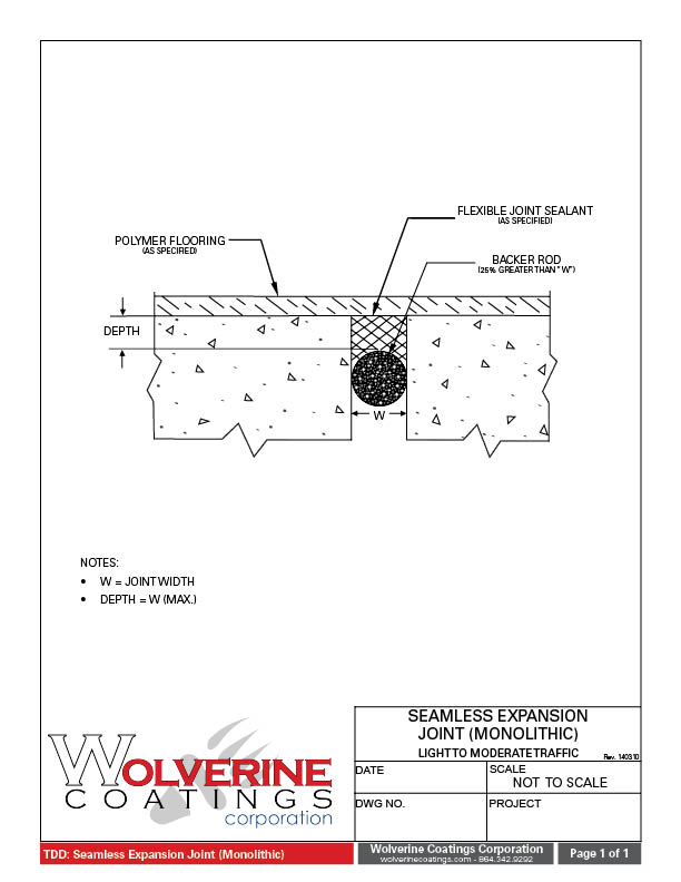 Seamless Expansion Joint - Technical Detail Drawings - Wolverine Coatings Corporation