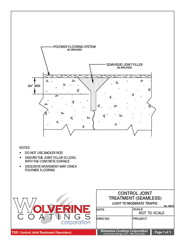 Seamless Joint Treatment - Technical Detail Drawings - Wolverine Coatings Corporation