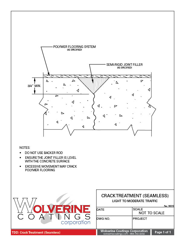 Crack Treatment - Technical Detail Drawings - Wolverine Coatings Corporation