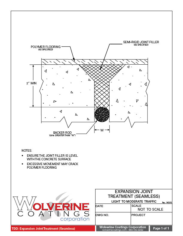 Expansion Joint Treatment - Technical Detail Drawings - Wolverine Coatings Corporation