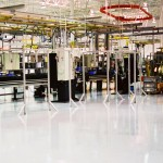 Industrial floor coating on a manufacturing facility floor